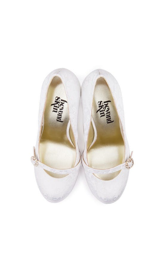 Beyond Skin Bridal Collection Grace White Damask Court Shoes #2
