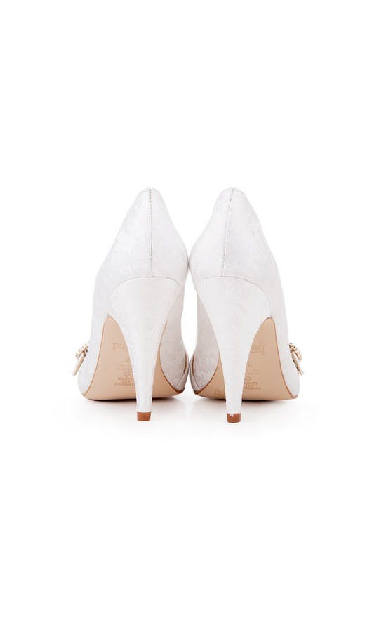 Beyond Skin Bridal Collection Grace White Damask Court Shoes #3