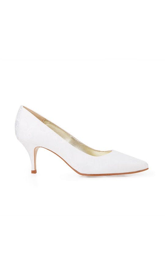 Beyond Skin Bridal Collection Isabella B White Damask Mid Court Shoes #1