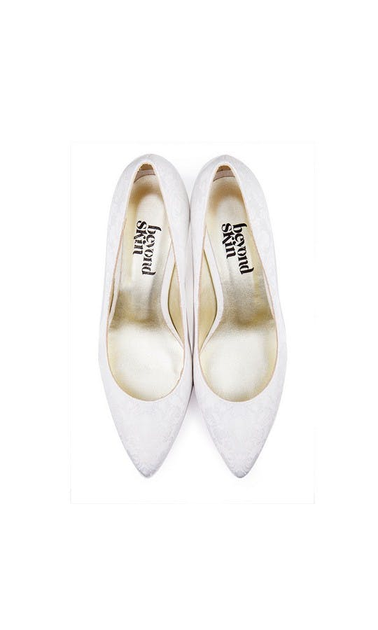 Beyond Skin Bridal Collection Isabella B White Damask Mid Court Shoes #2