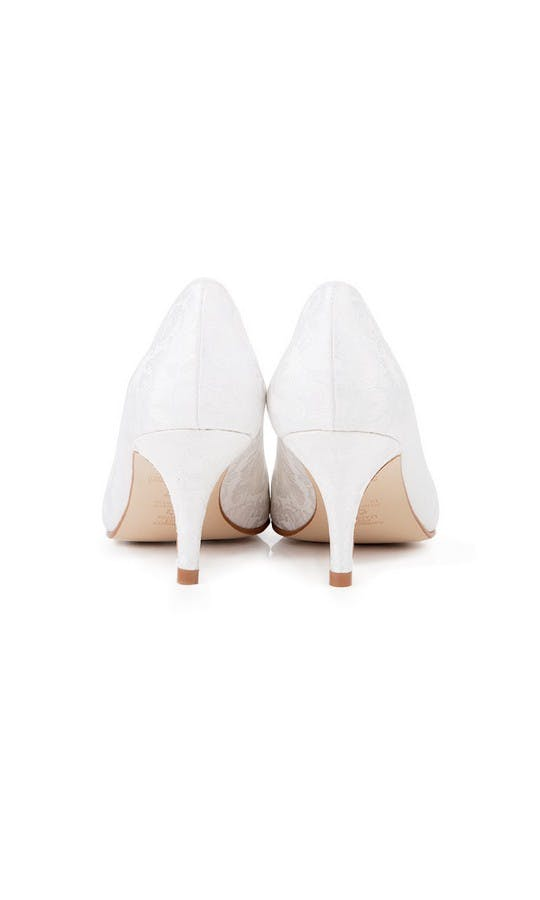 Beyond Skin Bridal Collection Isabella B White Damask Mid Court Shoes #3