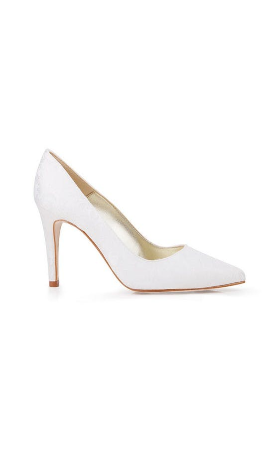 Beyond Skin Bridal Collection Lexie B White Damask Stilettos #1
