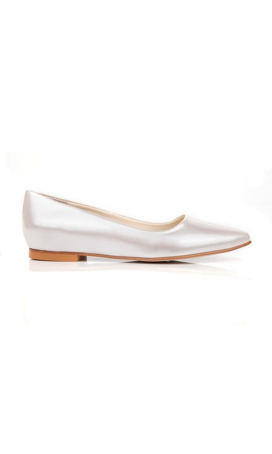 Beyond Skin Bridal Collection Shelley Pearl White Flat Shoe #1