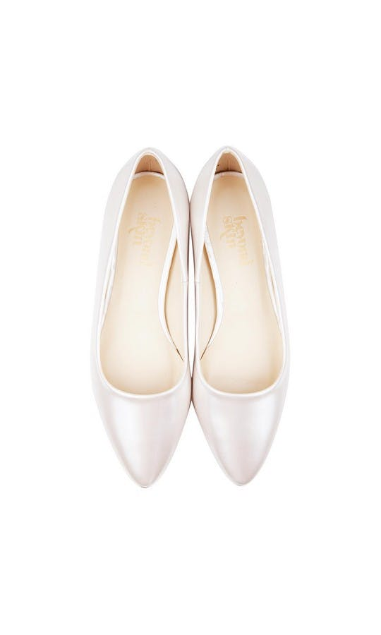 Beyond Skin Bridal Collection Shelley Pearl White Flat Shoe #2