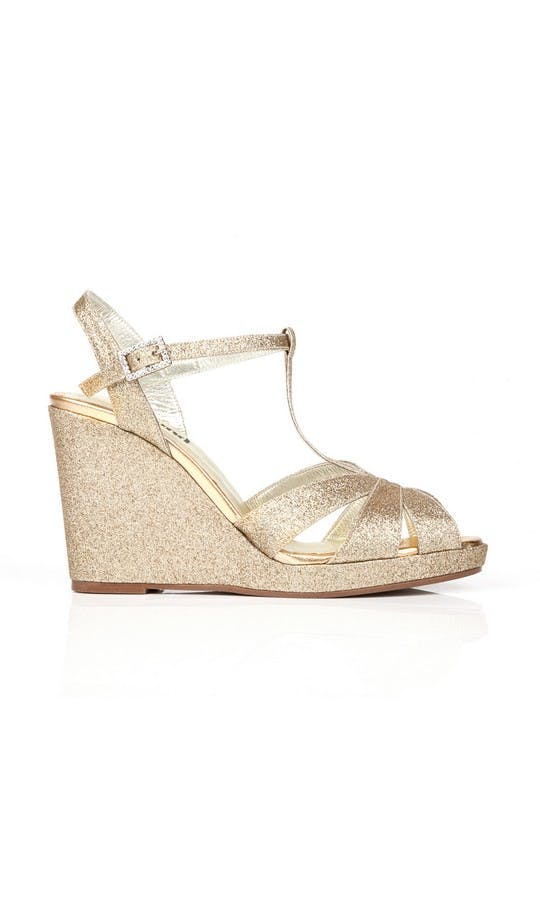 Beyond Skin Bridal Collection Champagne Glitter Angelica Wedges #1