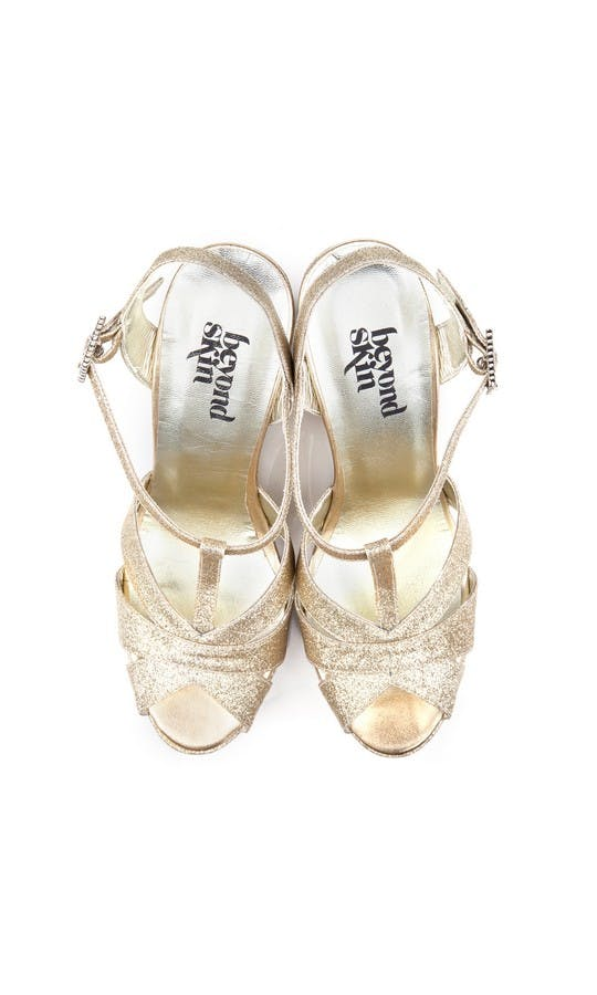 Beyond Skin Bridal Collection Champagne Glitter Angelica Wedges #2
