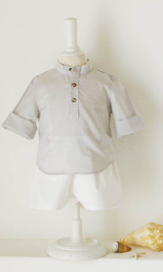 Little Eglantine Baby Page Boys Baby Boy Grey Cotton Shirt #2