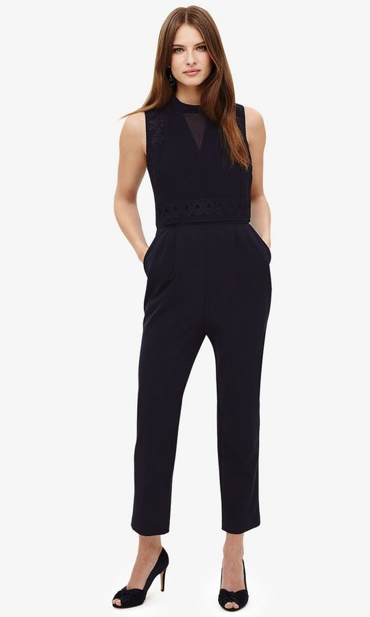 Peal Navy Embroidered Jumpsuit Mother Of The Bride Outfit Phase