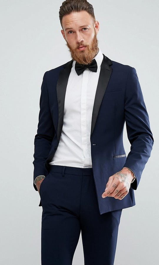 ASOS Mens Occasion Wear SS18 Super Skinny Tuxedo Trousers In Navy #1