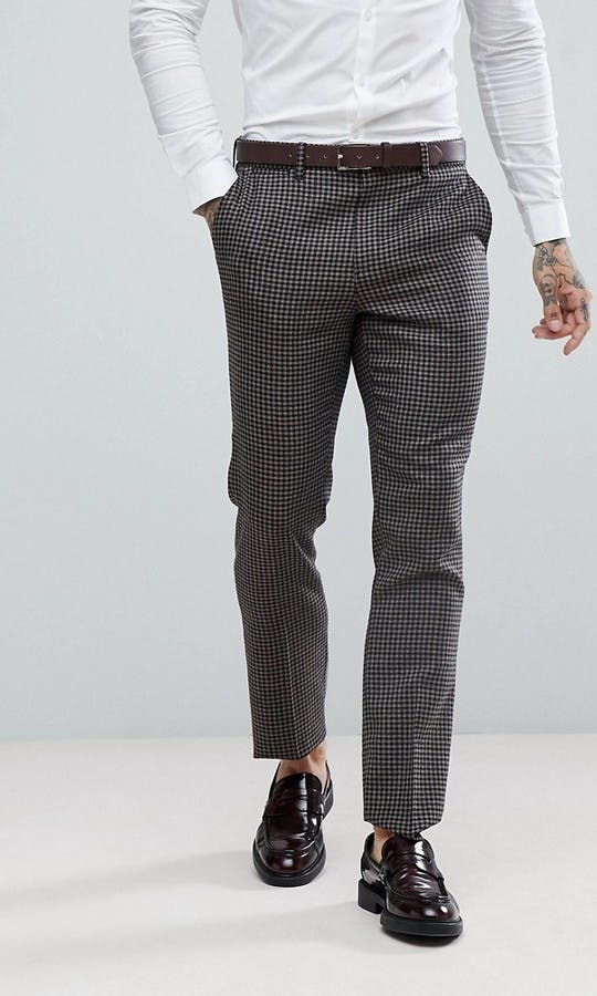 ASOS Mens Occasion Wear SS18 Slim Suit Jacket 100% Wool Houndstooth In Putty/Beige #1