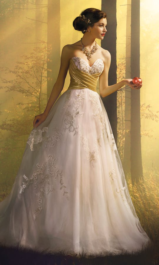 Alfred Angelo Disney Fairy Tale Weddings Bridal Collection Spring 2016 Snow White Wedding Dress Gold