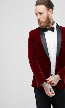 ASOS Mens Occasion Wear SS18 Skinny Blazer In Burgundy Quilted Velvet #12
