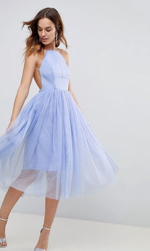 ASOS SS18 Bridesmaids Scuba Pinny Midi Tulle Dress