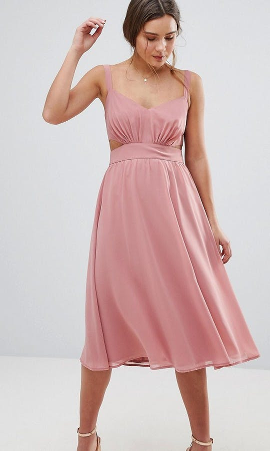 ASOS SS18 Bridesmaids Side Cut Out Midi Dress with Cami Straps