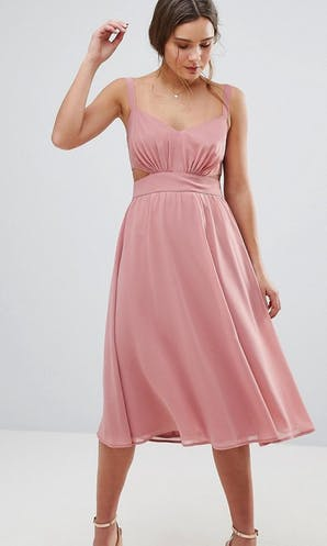 262a59c18a5f ASOS SS18 Bridesmaids Side Cut Out Midi Dress with Cami Straps