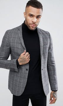 ASOS Mens Occasion Wear SS18 Skinny Blazer In Grey & Burgundy Wool Mix Check #10