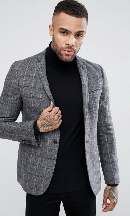 ASOS Mens Occasion Wear SS18 Skinny Blazer In Grey & Burgundy Wool Mix Check