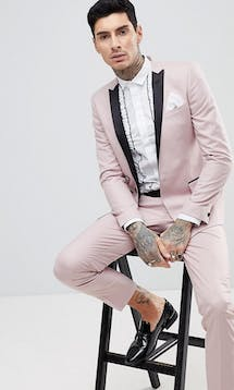 ASOS Mens Occasion Wear SS18 Skinny Tuxedo Suit Jacket In Dusky Pink #26