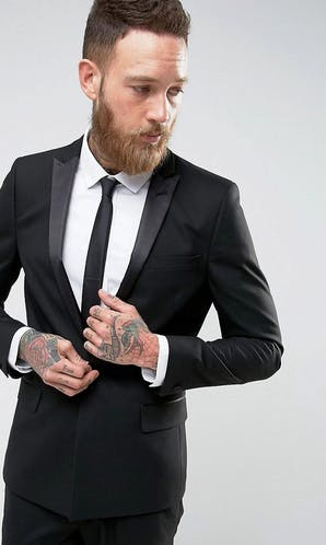 ASOS Mens Occasion Wear SS18 Skinny Tuxedo Suit Jacket With Satin Lapel In Black