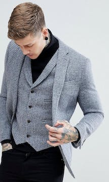 ASOS Mens Occasion Wear SS18 Slim Blazer in Harris Tweed 100% Wool Light Grey Check #8