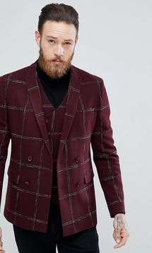 ASOS Mens Occasion Wear SS18 Slim Double Breasted Blazer In Moons Wool Rich Burgundy Check #7