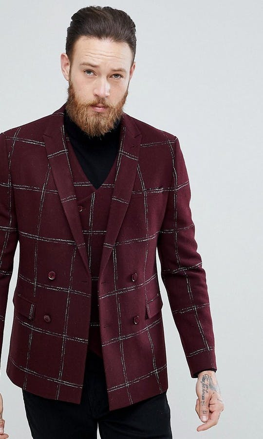 ASOS Mens Occasion Wear SS18 Slim Double Breasted Blazer In Moons Wool Rich Burgundy Check