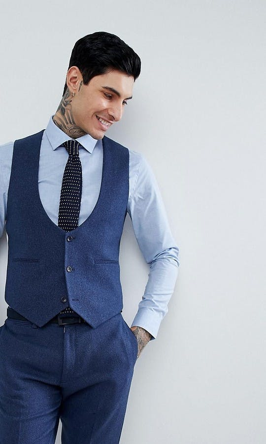ASOS Mens Occasion Wear SS18 Slim Suit Waistcoat in Blue Wool Mix Twill
