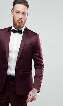 ASOS Mens Occasion Wear SS18 Slim Tuxedo Suit Jacket in Burgundy Sateen #19