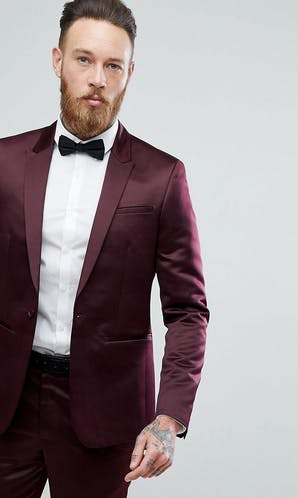 ASOS Mens Occasion Wear SS18 Slim Tuxedo Suit Jacket in Burgundy Sateen