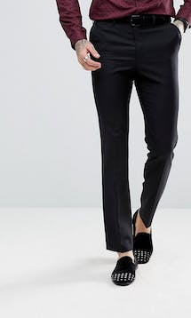 ASOS Mens Occasion Wear SS18 Slim Tuxedo Suit Trousers in Black 100% Wool #20