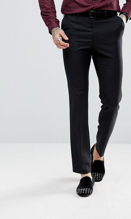 ASOS Mens Occasion Wear SS18 Slim Tuxedo Suit Trousers in Black 100% Wool