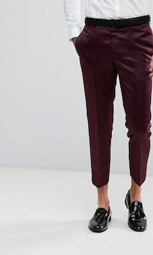 ASOS Mens Occasion Wear SS18 Slim Tuxedo Suit Trousers in Burgundy Sateen #18