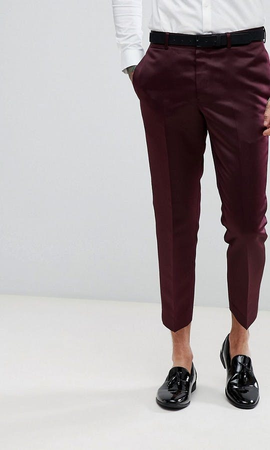 ASOS Mens Occasion Wear SS18 Slim Tuxedo Suit Trousers in Burgundy Sateen