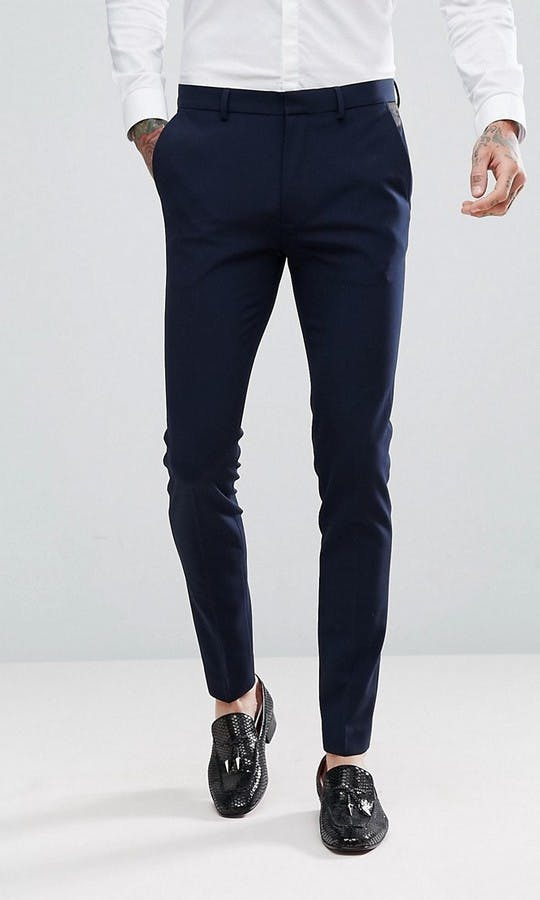 ASOS Mens Occasion Wear SS18 Super Skinny Tuxedo Trousers In Navy