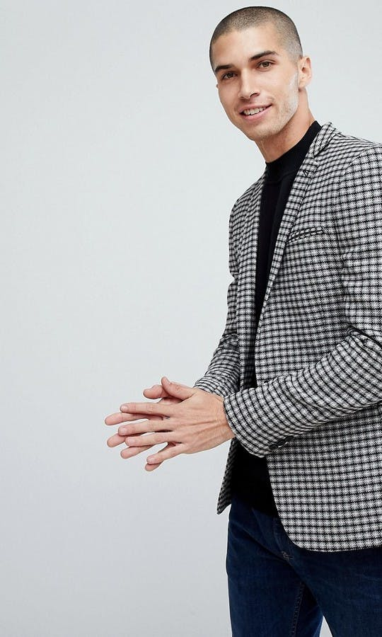 ASOS Mens Occasion Wear SS18 Super Skinny Blazer In Grey Wool Mix Mini Check