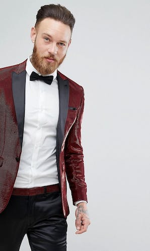 ASOS Mens Occasion Wear SS18 Super Skinny Tuxedo Jacket In Red Glitter