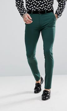 ASOS Mens Occasion Wear SS18 Super Skinny Tuxedo Trousers In Midnight Green #14