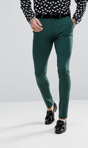 ASOS Mens Occasion Wear SS18 Super Skinny Tuxedo Trousers In Midnight Green