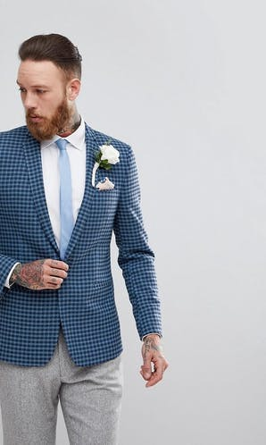ASOS Mens Occasion Wear SS18 Skinny Blazer In Navy Blue Wool Mix Mini Check