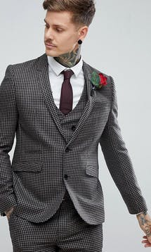 ASOS Mens Occasion Wear SS18 Slim Suit Jacket 100% Wool Houndstooth In Putty/Beige #33