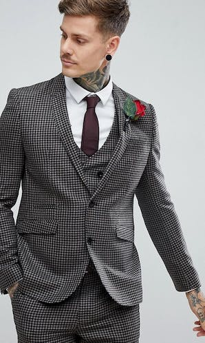 ASOS Mens Occasion Wear SS18 Slim Suit Jacket 100% Wool Houndstooth In Putty/Beige