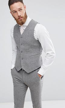 ASOS Mens Occasion Wear SS18 Super Skinny Waistcoat In Grey Houndstooth #31