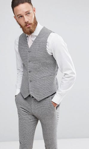ASOS Mens Occasion Wear SS18 Super Skinny Waistcoat In Grey Houndstooth