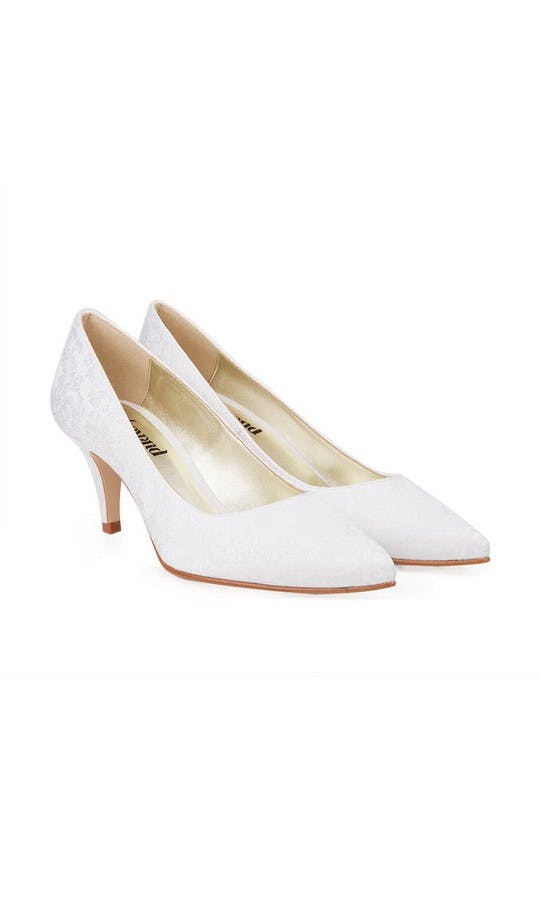 Beyond Skin Bridal Collection Isabella B White Damask Mid Court Shoes