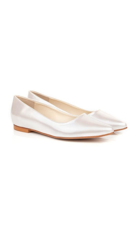 Beyond Skin Bridal Collection Shelley Pearl White Flat Shoe