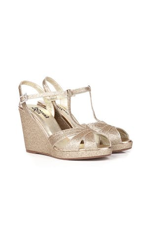 Beyond Skin Bridal Collection Champagne Glitter Angelica Wedges