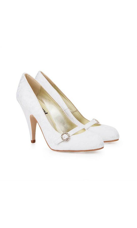 Beyond Skin Bridal Collection Grace White Damask Court Shoes