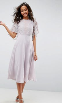 ASOS SS18 Bridesmaids Delicate Lace Applique Midi Dress #14