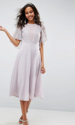 ASOS SS18 Bridesmaids Delicate Lace Applique Midi Dress