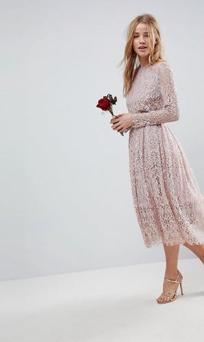 ASOS SS18 Bridesmaids Lace Long Sleeve Midi Prom Dress